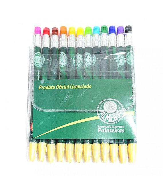 Conjunto com 12 lapiseiras coloridas do Palmeiras