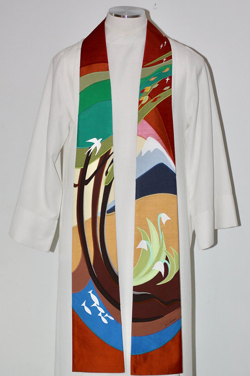 """Clergy Stole for Season of Ceation: """"All Things Bright and Beautiful"""""""