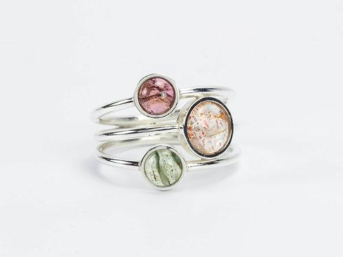 Тройные кольца с камнями