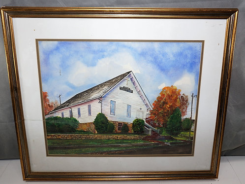 Oil Painting Of A First Baptist Church