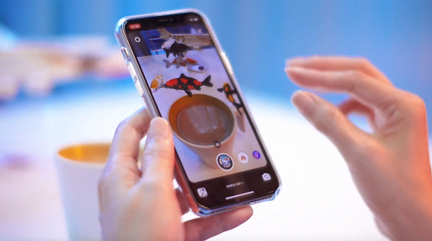 Social augmented reality instagram filter with koi fish