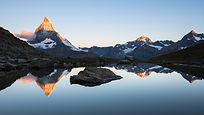 Sunrise on Matterhorn from Riffelsee