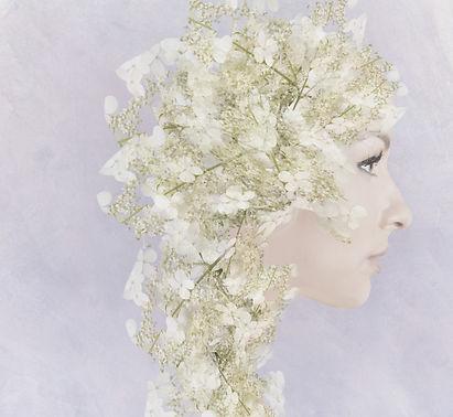 nainen, siluetti, sivukuva, kasvot, kukka, hortensia, hortensian kukka, pieni kukka, kukinto, vaalea, valoisa, pastelli, koriste, kukkakoriste, hiuskoriste, puettu, surrealistinen