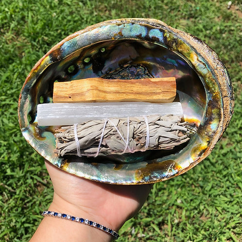 Abalone Shell Cleansing Bundle with Large Palo Santo