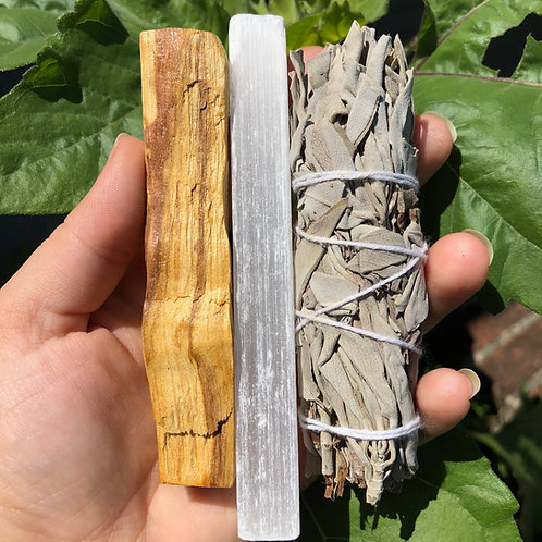 Essential Cleansing Bundle with Large Palo Santo