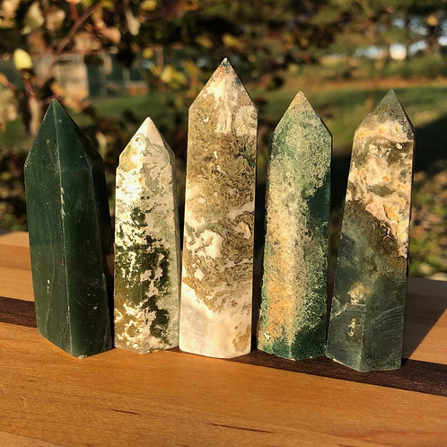 Moss Agate Crystal Points