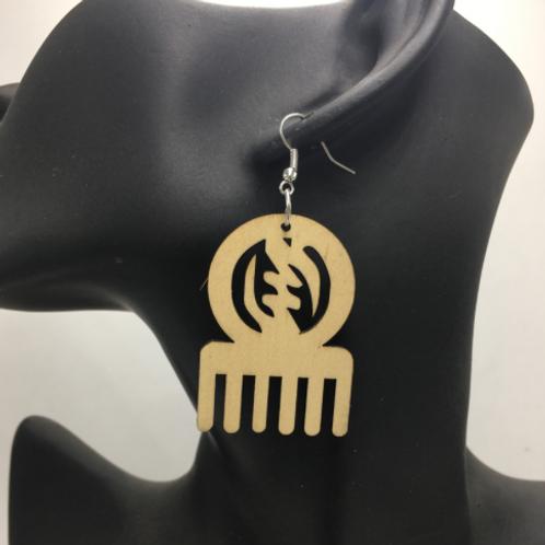 Adinkra comb earring