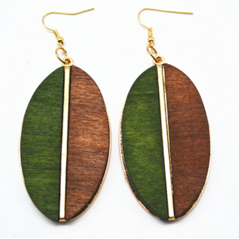 Wooden leaf earring - dual color