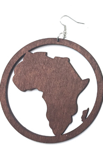 Africa round wooden earring