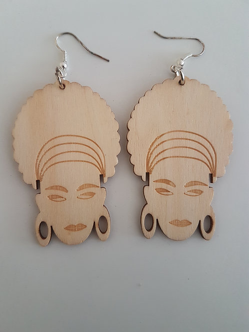 Afro woman earring