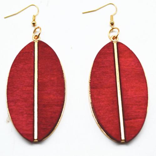 Wooden leaf earring