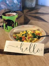 Scrambled Eggs with spinach, and bell pe