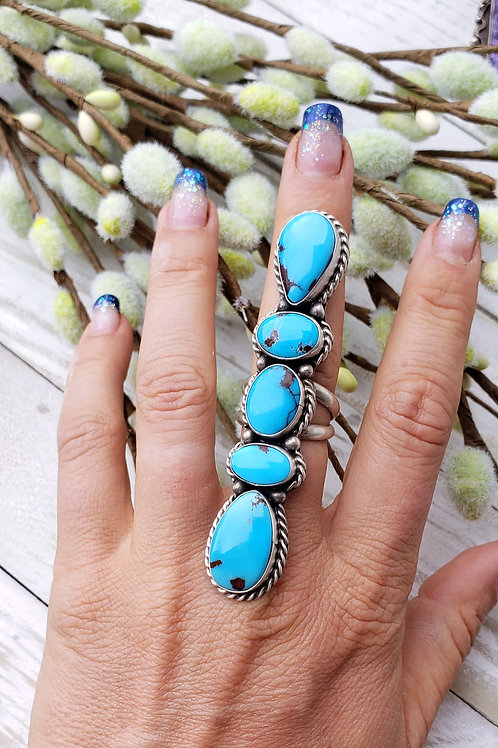 EGYPTIAN HIGH GRADE TURQUOISE 5 STONE RING