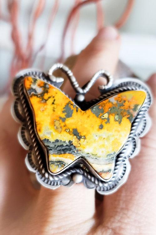 BEAUTIFUL BUMBLEBEE JASPER BUTTERFLY RING