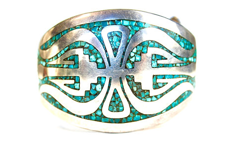 DEAD PAWN TURQUOISE ZUNI CHIP INLAY BRACELET