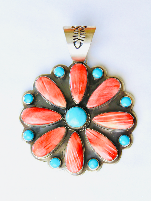 LARGE SPINY OYSTER AND TURQUOISE CLUSTER PENDANT STERLING