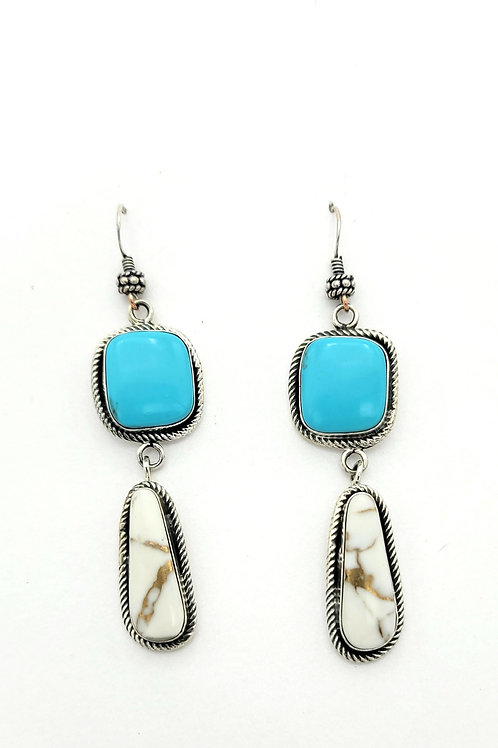 TURQUOISE AND WHITE BUFFALO EARRINGS