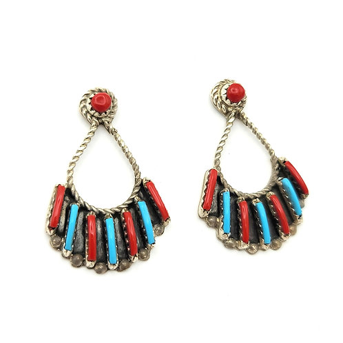 TURQUOISE AND CORAL ZUNI EARRINGS