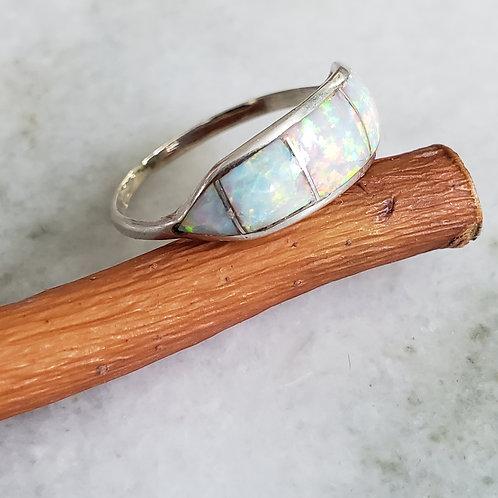 Opal inlaid ZUNI sz 8 Ring .925 Silver