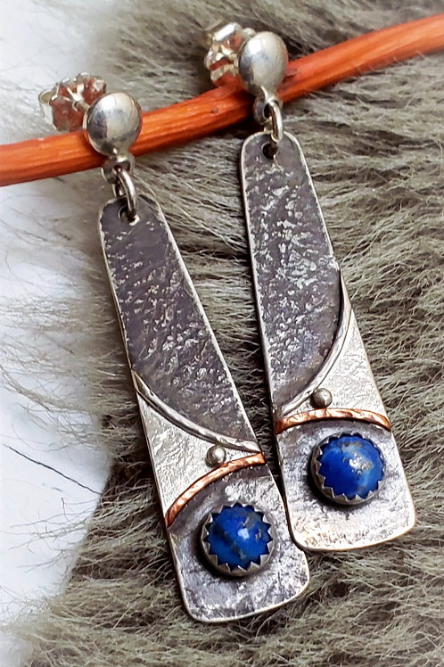 LAPIS LAZULI HAND MADE SIGNED POST EARRINGS WITH .925 STERLING AND COPPER
