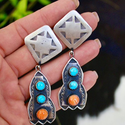 HAND STAMPED NAVAJO SPINY OYSTER AND TURQUOISE EARRINGS