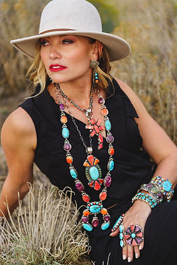 Giant Spiny Oyster and Lariat Necklace Colorado Turquoise