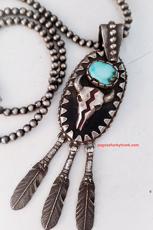 VINTAGE COW SKULL TURQUOISE AND FEATHER PENDANT