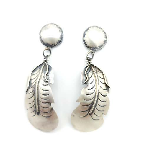 FEATHER NATIVE MADE SILVER SOUTHWEST EARRINGS