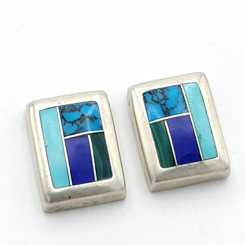 OLD PAWN LAPIS TURQUOISE POST EARRINGS