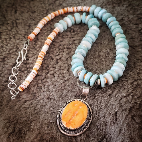 SPINY OYSTER AND LARAMAR NECKLACE