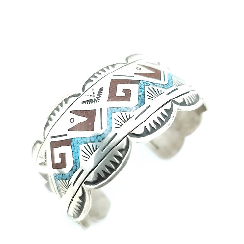 BEGAY CHIP INLAY TURQUOISE CUFF BRACELET