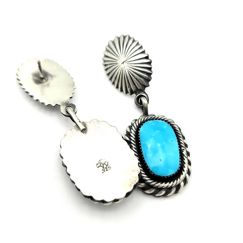 ROBERT BEGAY CONCHO AND TURQUOISE EARRINGS