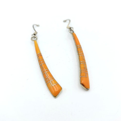 SPINY OYSTER INLAY STERLING EARRINGS