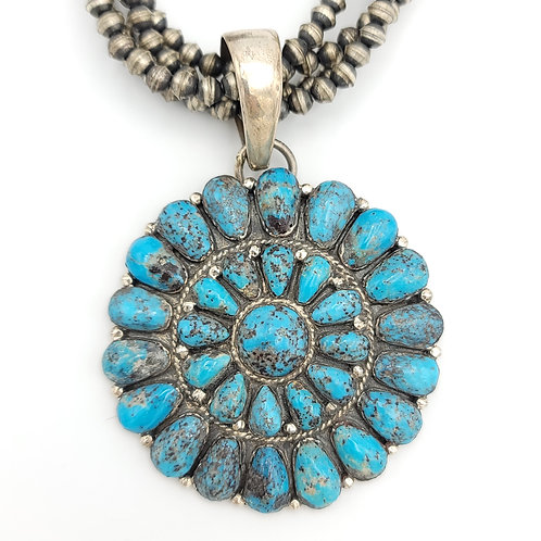 OLD PAWN CLUSTER KINGMAN TURQUOISE CLUSTER PENDANT NECKLACE