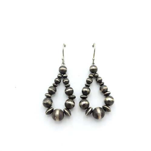 "1.5"" NAVAJO PEARL EARRINGS STERLING SILVER"