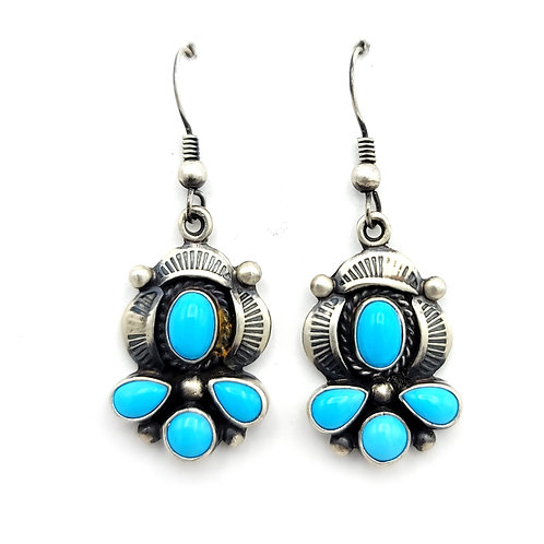 OLD PAWN SLEEPING BEAUTY TURQUOISE EARRINGS