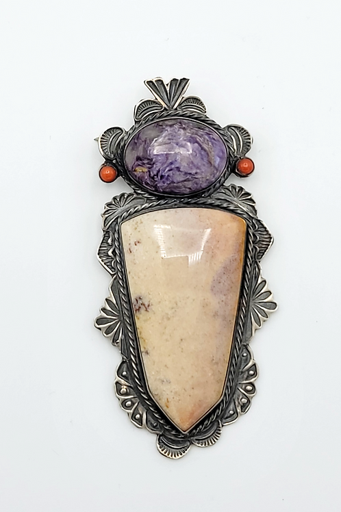 OLD PAWN DEAD PAWN NAVAJO PIN AGATE STONE