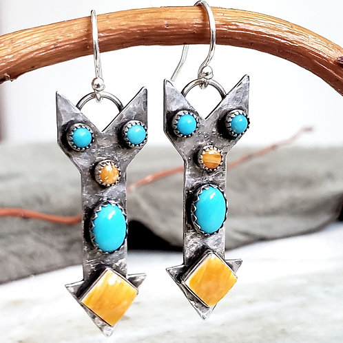 Turquoise and Spiny Oyster .925 Silver Ristra Earring