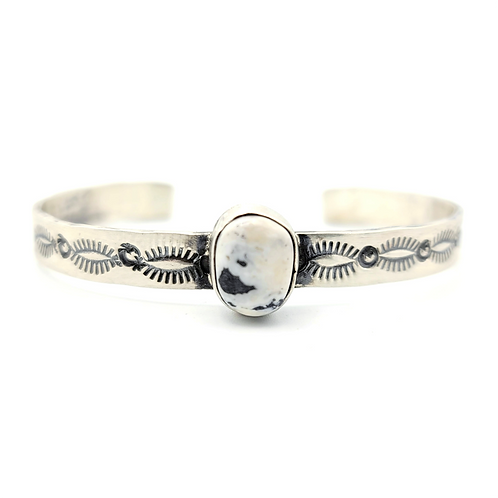 MARCELA JAMES STACKER SILVER WHITE BUFFALO TURQUOISE BRACELET