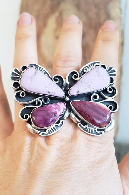 FABULOUS HEIRLOOM QUALITY BUTTERFLY RING BY MARLENA TOM WITH SPINY OYSTER