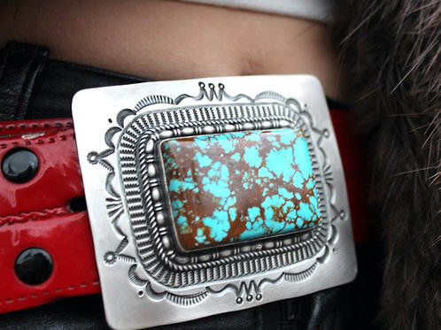 KINGS MANASSA TURQUOISE AND STERLING BELT BUCKLE