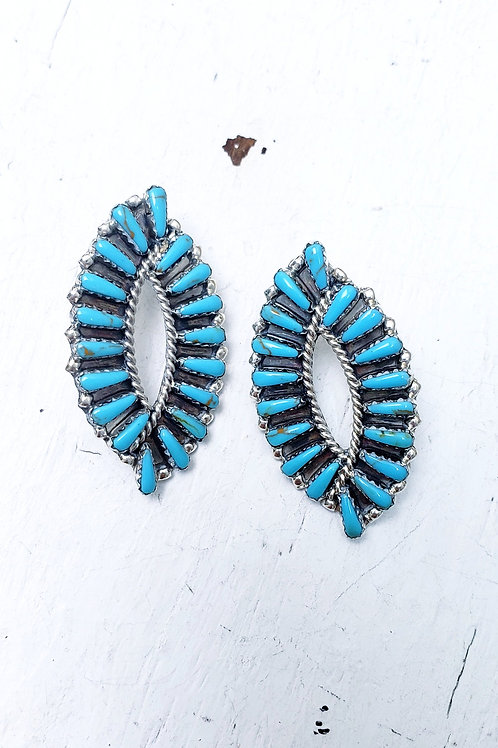 THE TULIP CLUSTER TURQUOISE  EARRING POST