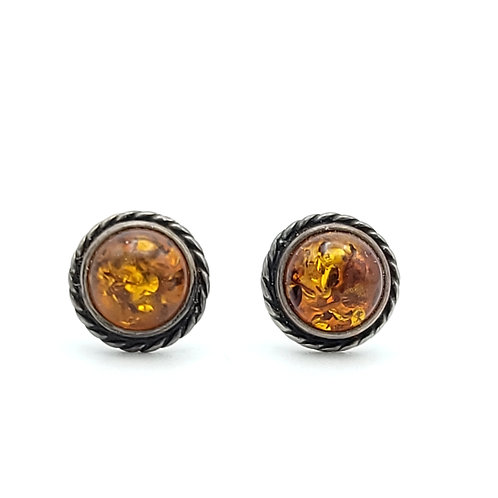 VINTAGE SILVER AND AMBER NATIVE EARRINGS