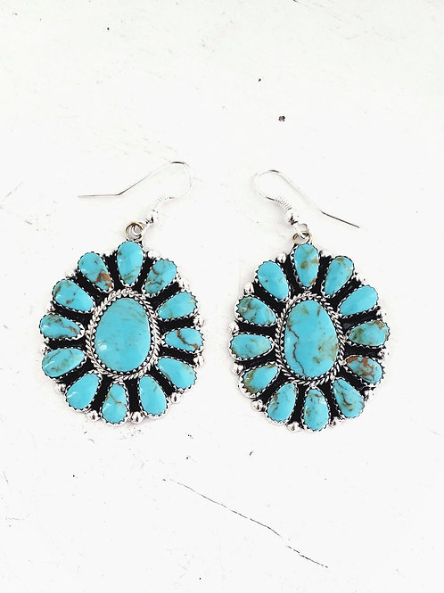THE BLOSSOM TURQUOISE EARRING CLUSTER .925