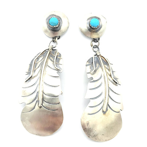 YAZZIE FEATHER AND TURQUOISE POST EARRINGS