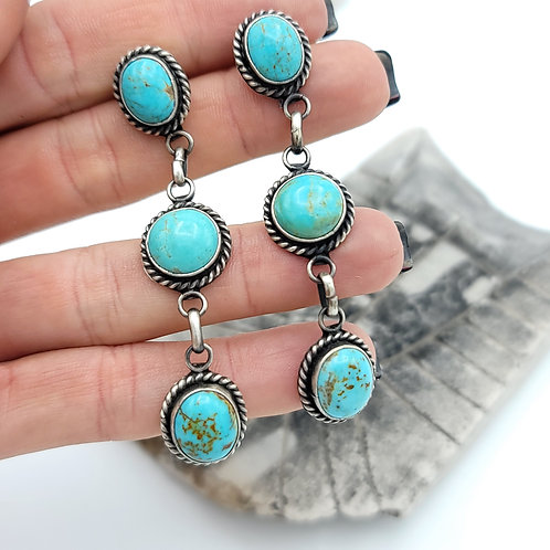 MARIE BAHE 3 STONE TURQUOISE EARRING POST