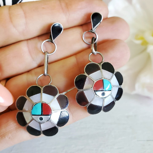 VINTAGE ZUNI SUN FACE EARRINGS