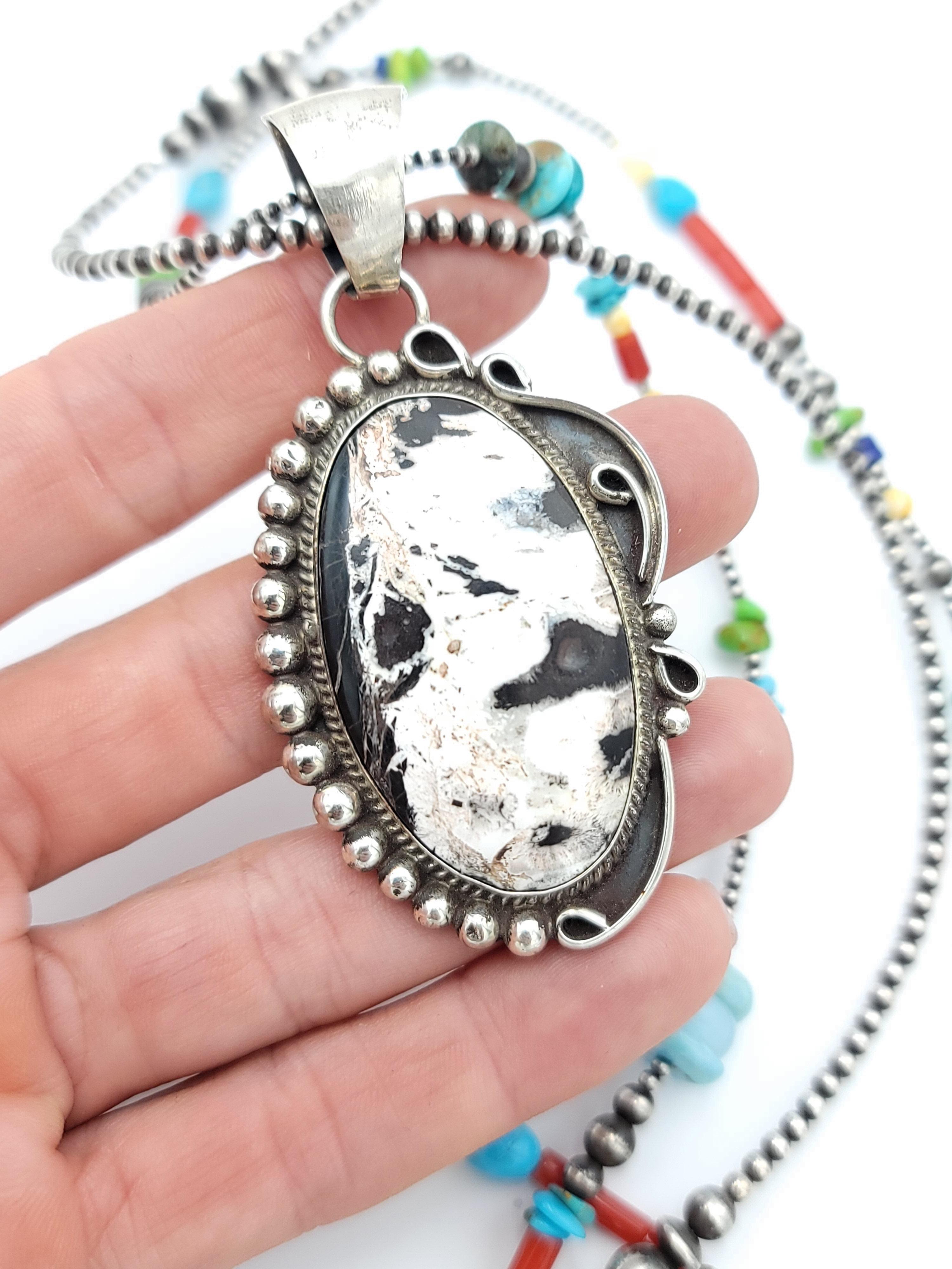 White Buffalo Turquoise and Mystic Sage Necklace Pendant