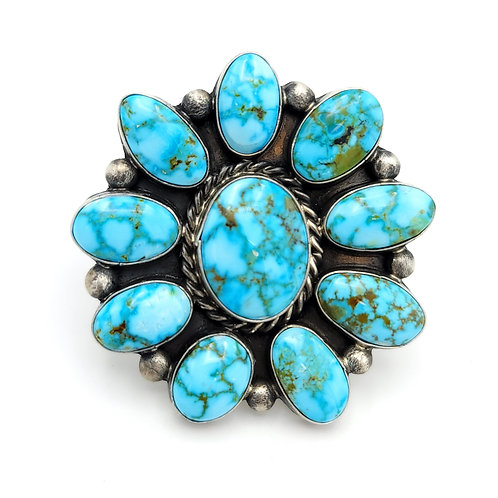 GENUING NATIVE MADE CLUSTER TURQUOISE RING