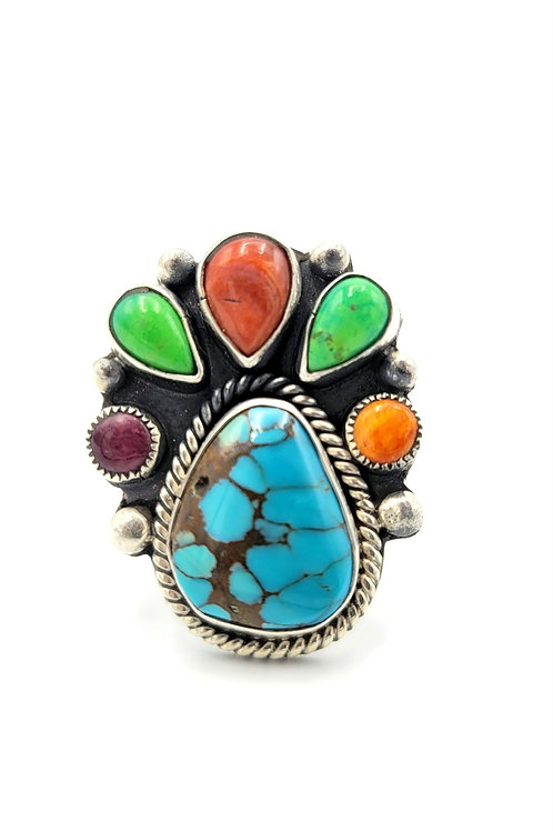 KINGMAN GASPEITE CORRAL AND SPINY OYSTER NATIVE MADE RING